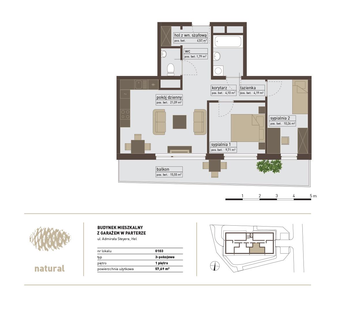 rzut Apartament 103 – Sprzedany